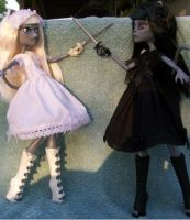 Monster High were cat lolita anime twin customs by AdeCiroDesigns