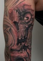 skullstyle on arm by graynd