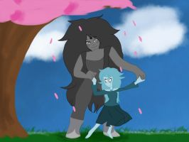 Dance lesson- Iolite and Black Spinel by ask-insane-theglitch