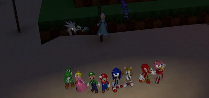 Mario, Sonic and friends looking up at the stars by GeorgeDoesArt2003