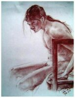 An Old Drawing of a male nude by Didaemus