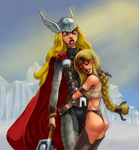 Lady Thor and Valkyrie by Flick-the-Thief