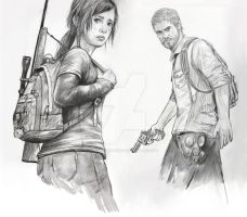 Joel and Ellie -The Last of Us by Pencilsketches