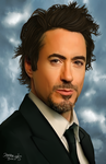 Tony Stark ~ Robert Downey Jr Portrait by SauceBox16