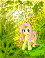Fluttershy in the Forest by lotothetrickster