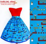 Super Mario Bros Vintage Inspired Tea Length Skirt by DarlingArmy