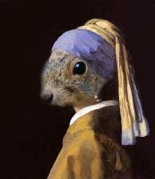 Squirrel with a Pearl Earring by madizzlee