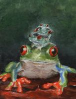 Red Eyed Tree Frogs by IronMaiden37
