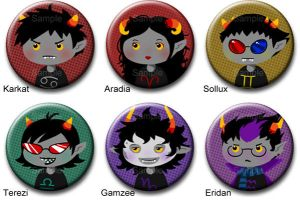 Homestuck troll button set 1 by roseannepage