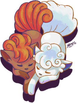 Vulpix and Alolan Vulpix by cyberandjasmine