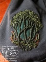 Little Green Forest Embroidered Pouch by myceliae