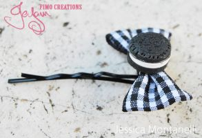 Oreo Cookie bow bobby pin by Jeyam-PClay