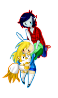 Fionna And Cake with Marshall Lee by AniiYMackaFiolee