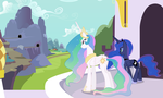 Celestia and Luna Overlooking (Full Scene) by 90Sigma