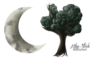 Moon and Tree by K1ku-Stock