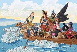 Straw Hats Cross the Delaware by TheSteveYurko