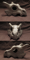 Cubone Skull Sculpture by Iron-Zing