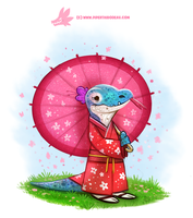 Daily Paint #1194. Kimono Dragon by Cryptid-Creations