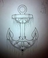Oldschool anchor tattoo design by booders9