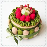 Green Tea Felt Cake by bibiluv