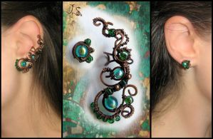 Mistress of copper mountain ear cuff and stud by JSjewelry