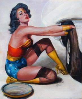 wonder woman pin up homage after elvgren by charles-hall
