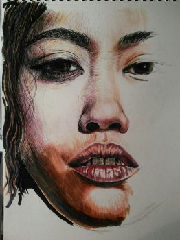 Mixed-media face. by rhyshaug