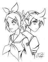 Kagamine Twins - Lineart by tridaln08