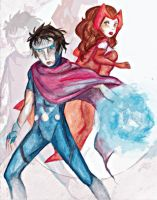 Wiccan And The Scarlet Witch by aurenwolfgang