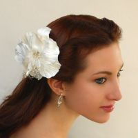 Small Wedding Hibiscus Hairpiece by tracyholcomb