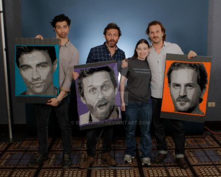Rob, Rich, and Matt with their crochet portraits by rhoward8