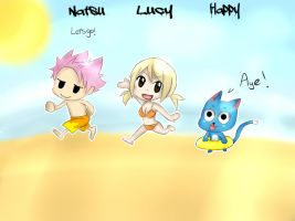 Lucy Natsu and Happy (chibi) at the beach by Faithwoe