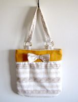 Lace Yellow Tote Bag by deconstructedstars