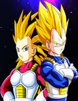 Vegeta SSJ and Articha SSJ by dbzandsm