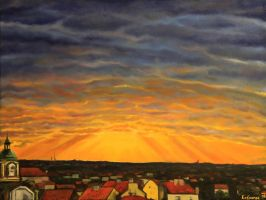 Sunrays from Parukarka, Prague. Oil 24 x 18 inches by Jan-Kasparec