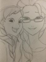 Anna and Elsa (Modern) Sketch by scootalootheotaku007
