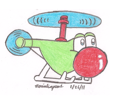 Helicopter Yoshi by MarioSimpson1