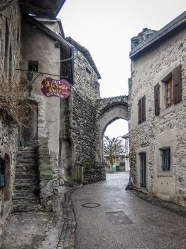 Yvoire 010 - Old village and door by HermitCrabStock