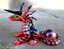 Pink and Blue Star-crested Dragon by LegacyofanArtist