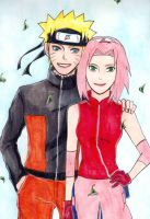 Naruto and Sakura by KziraLee