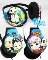 Bigbang Chibi Headphone by PoppinCustomArt