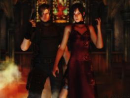 Resident evil wallpaper Leon and Ada 2 by ethaclane