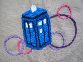 Embroidered TARDIS Version 2 by TheCrimsonCrow