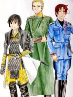 Hetalia :Japan-Germany-Italy by hanakoofthejungle