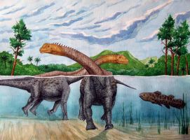 Swimming sauropods by T-PEKC