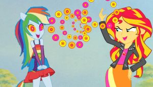 Sunset Shimmer Hypnotises Rainbow Dash by ReforgedIron