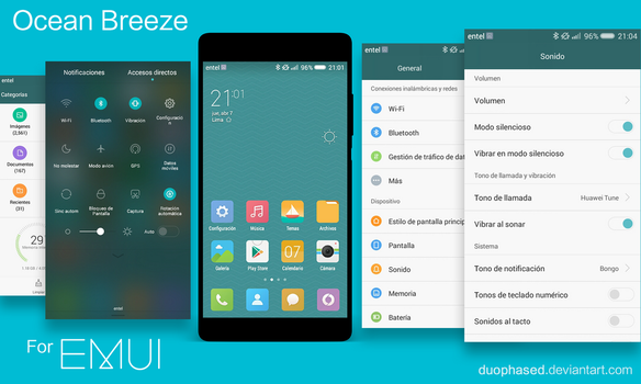 Ocean Breeze MIUI 7 Theme for EMUI 3.0 /3.1- 4.0 by Duophased
