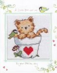 Cat and Bird card cross stitch by Lil-Samuu