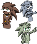 Manic and Sonia's statue designs. by fluffy11cat