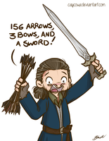 Hobbit - Bard 156 arrows, 3 bows and a sword by caycowa